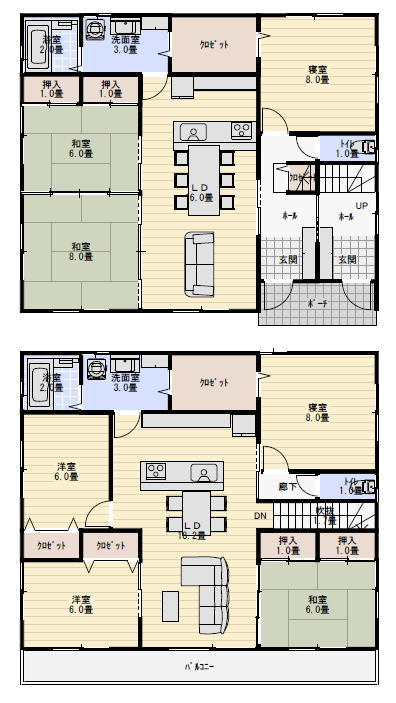 完全分離型二世帯住宅間取り