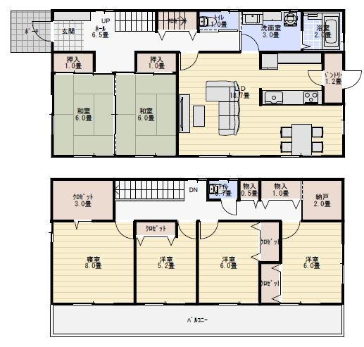 間取り 45坪 二世帯住宅
