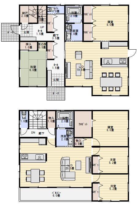 二世帯住宅間取り完全分離型