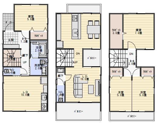 二世帯住宅 間取り 38坪