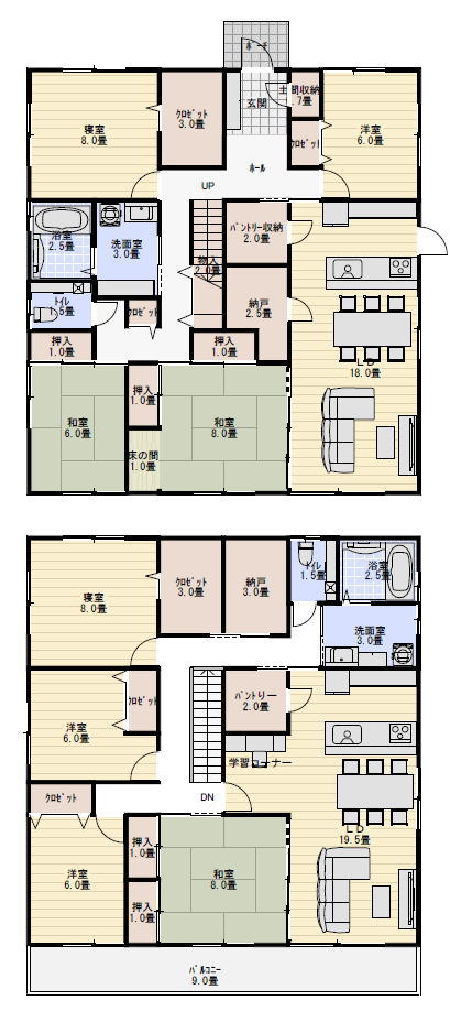 二世帯住宅間取り 70坪