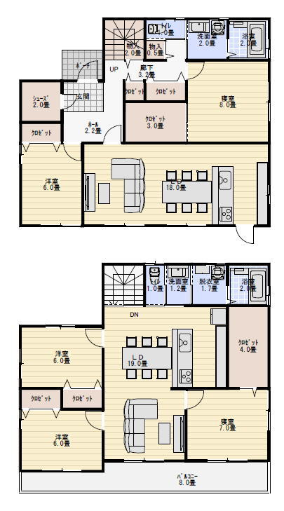 二世帯住宅 間取り プラン 50坪