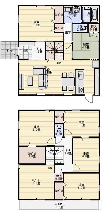 二世帯住宅間取り 45坪