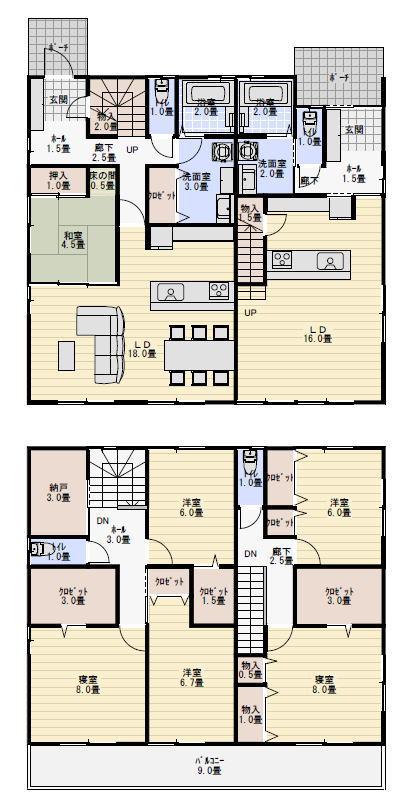 二世帯住宅 間取り プラン 60坪