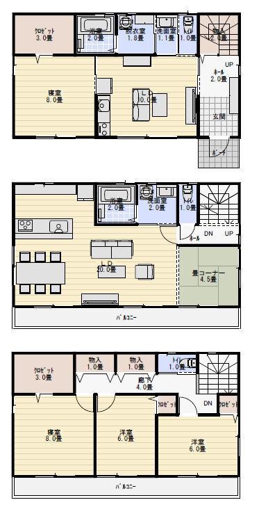 二世帯住宅 間取り 3階建て