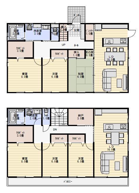 二世帯住宅 間取り 56坪