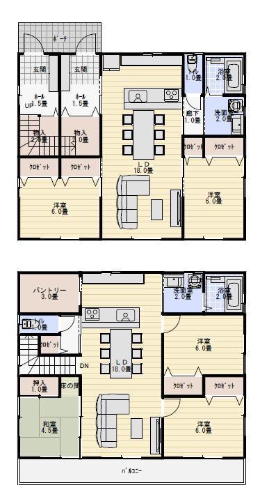 二世帯住宅 間取り 完全分離 50坪