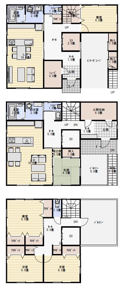 二世帯住宅間取り60坪完全分離型   二世帯住宅間取り