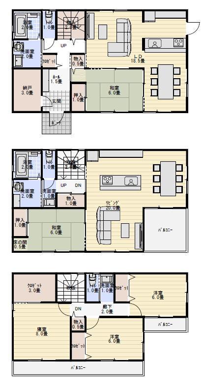 水周り別の三階建て二世帯住宅の間取り例   二世帯住宅間取り