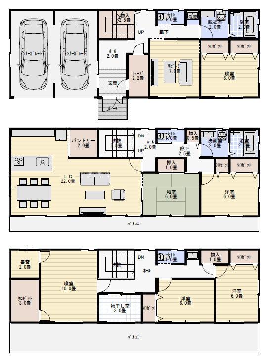 ビルトインガレージ付三階建て二世帯住宅の間取り図   二世帯 ...